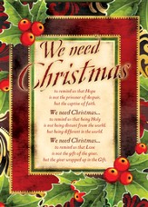 We Need Christmas, Box of 12 Christmas Cards