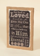 For God So Loved the World, Burlap Framed Art