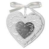 Heart Ceramic Ornament, with Metal Accent