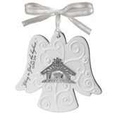 Angel Ceramic Ornament, with Metal Accent