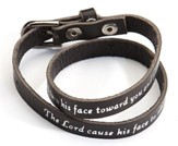 Black Leather Bracelet: Aaron's Blessing