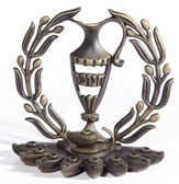 Hannukah Menorah: Urn and Olive Branch