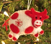 Snowflake Cow Ornament, White, Fair Trade Product
