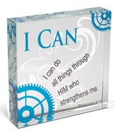 I Can Do All Things Through Christ Glass Block