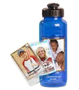 FotoFrame Water Bottle, Blue Flip Top