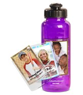 FotoFrame Water Bottle, Purple Flip Top