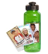 FotoFrame Water Bottle, Green Flip Top