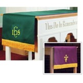 Table Runner with IHS, Purple / Green