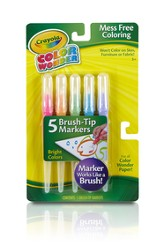Crayola, Color Wonder Brush Tip Markers, Bright Colors, 5 Pieces