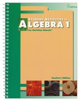 BJU Algebra 1 Student Activities Teacher's Edition Grade 9