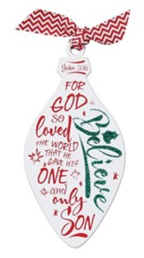 Believe Glittered Wood Ornament