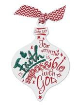 Faith Glittered Wood Ornament