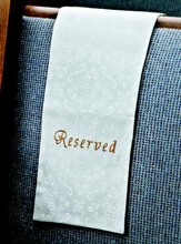 Embroidered Pew Reserve Cloth, White, Set of 4