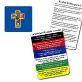 The Gospel Story by Colors Mosaic Cross Lapel Pin with Card, Spanish