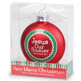 Jesus, Our Savior Glass Ornament