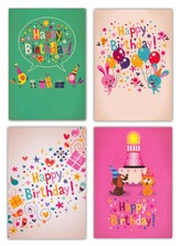 Confetti Fun, Box of 12 Assorted Birthday Cards