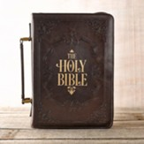 Holy Bible Bible Cover, Lux-Leather, Brown, Large