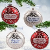 Set of Four Glass Snowflake Ornaments