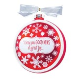 Good News Snowflake Red Glass Ornament