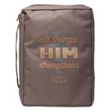 Can Do All Things, Polyester Bible Cover, Brown, Large