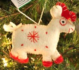 Snowflake Goat Ornament, White, Fair Trade Product