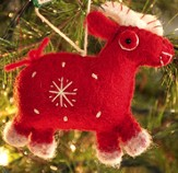 Snowflake Goat Ornament, Red, Fair Trade Product