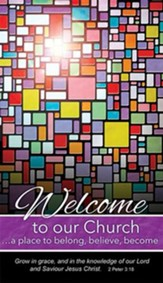 Welcome to Our Church Pew Cards (2 Peter 3:18) pack of 50