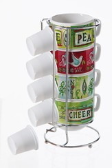 Seasonal Sentiments Espresso Coffee Cup Set with Holder