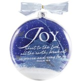 Joy Snow Globe Glass Ornament