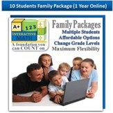 A+ Interactive 1 Year Online Math Family Package (10 Students)