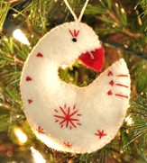 Snowflake Goose Ornament, White, Fair Trade Product