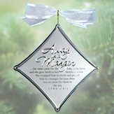 Away in a Manger Christmas Carol Silver Ornament