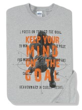 Keep Your Mind On The Goal, Gray Long-sleeve Tee Youth Large (12-14)