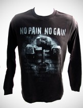 No Pain, No Gain, Black Long-sleeve Tee Shirt, XX-Large (50-52)