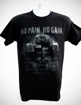 No Pain, No Gain, Black Short-sleeve Tee Shirt, Large (42-44)
