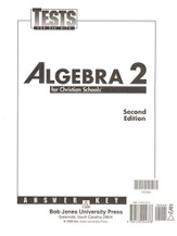 BJU Math Grade 11: Algebra 2, Tests Answer Key