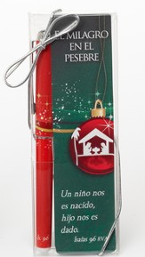 Miracle in the Manger Bookmark and Pen Set, Spanish