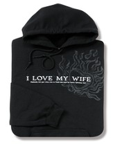 I Love My Wife, Black Hooded Sweatshirt, Small (36-38)