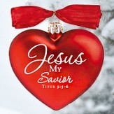Jesus My Savior, Heart of Christmas Glass Heart Ornament