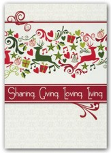 Sharing, Giving, Loving, Living, Box of 12 Christmas Cards (NIV)
