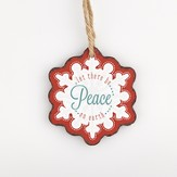 Peace, Snowflake Ornament, Red