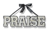 Praise, Word Art With Hanging Ribbon