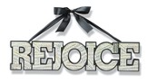 Rejoice, Hanging Word Art With Ribbon