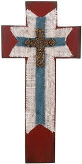 Burlap Wall Cross, Blue and Burgundy