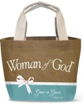 Woman of God Jute Tote Bag