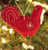Snowflake Rooster Ornament, Red, Fair Trade Product