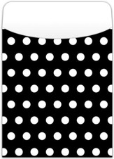 Peel & Stick Book Pockets: Black Polka Dots, Pack of 25