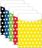 Book Pockets: Assorted Polka Dots, Pack of 35