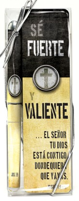 Fuerte y Valiente, Set de Lapicero y Marcador de Libro  (Strong and Courageous, Pen and Bookmark Set)