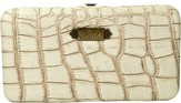 Croc Embossed Clutch Wallet, Faith, Cream